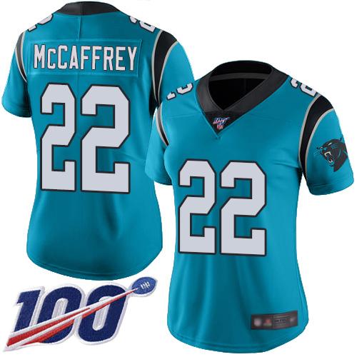 Nike Panthers #22 Christian McCaffrey Blue Women's Stitched NFL