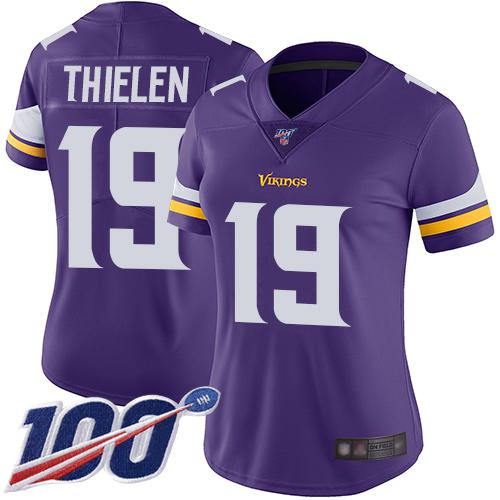 Nike Vikings #19 Adam Thielen Purple Team Color Women's Stitched NFL