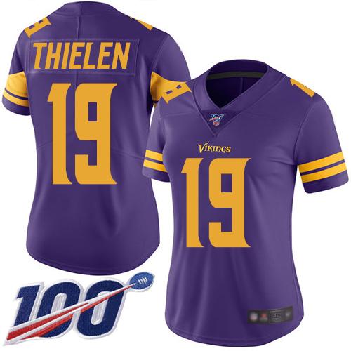 Nike Vikings #19 Adam Thielen Purple Women's Stitched NFL Limited Rush