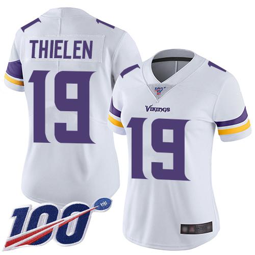 Nike Vikings #19 Adam Thielen White Women's Stitched NFL 100th