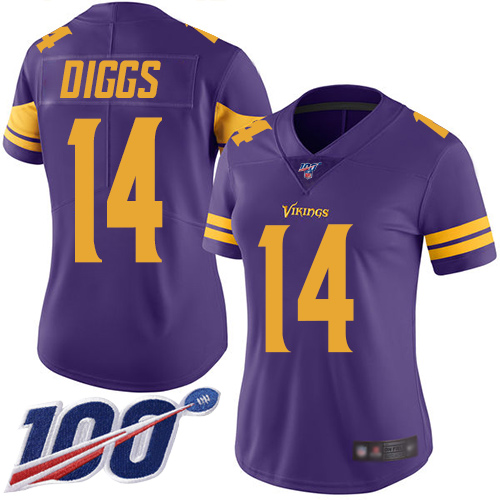 Nike Vikings #14 Stefon Diggs Purple Women's Stitched NFL Limited Rush