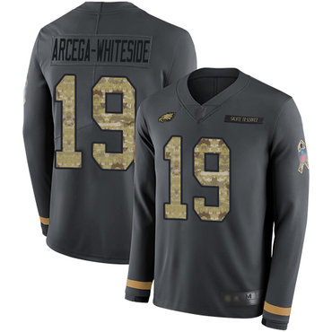 Eagles #19 JJ Arcega-Whiteside Anthracite Salute to Service Youth Stitched Football Limited Therma Long Sleeve Jersey