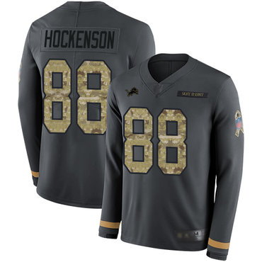 Lions #88 T.J. Hockenson Anthracite Salute to Service Youth Stitched