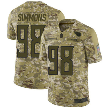 Titans #98 Jeffery Simmons Camo Youth Stitched Football Limited