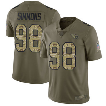 Titans #98 Jeffery Simmons Olive Camo Youth Stitched Football