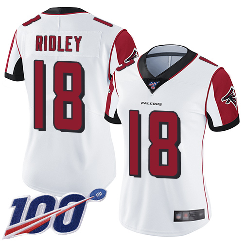 Nike Falcons #18 Calvin Ridley White Women's Stitched NFL 100th