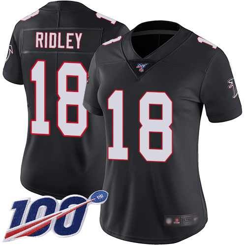Nike Falcons #18 Calvin Ridley Black Alternate Women's Stitched NFL