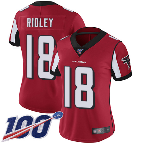 Nike Falcons #18 Calvin Ridley Red Team Color Women's Stitched NFL
