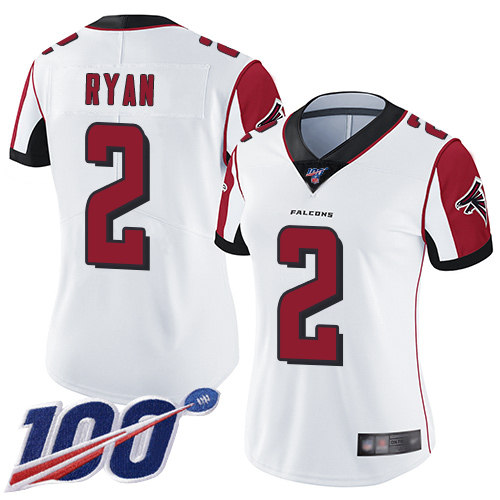 Nike Falcons #2 Matt Ryan White Women's Stitched NFL 100th