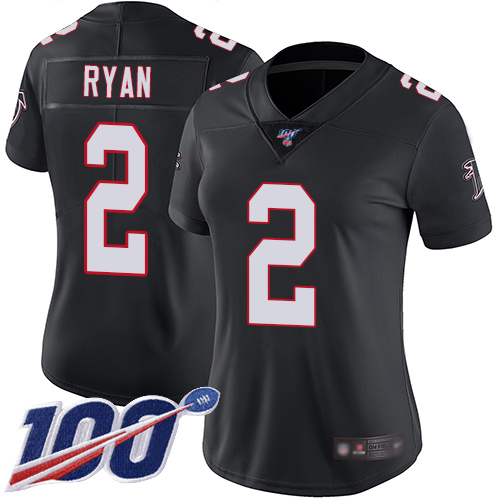 Nike Falcons #2 Matt Ryan Black Alternate Women's Stitched NFL