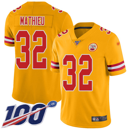 Nike Chiefs #32 Tyrann Mathieu Gold Men's Stitched NFL Limited Inverted Legend 100th Season Jersey