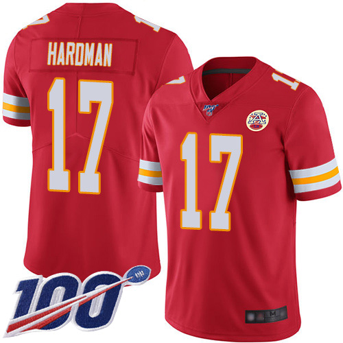 Nike Chiefs #17 Mecole Hardman Red Team Color Men's Stitched NFL 100th Season Vapor Limited Jersey