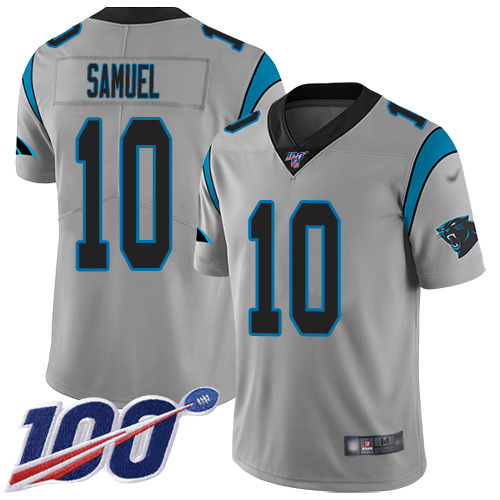 Nike Panthers #10 Curtis Samuel Silver Men's Stitched NFL Limited Inverted Legend 100th Season Jersey