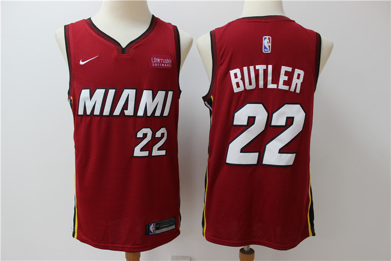 Heat #22 Jimmy Butler Red Nike Swingman Jerseys