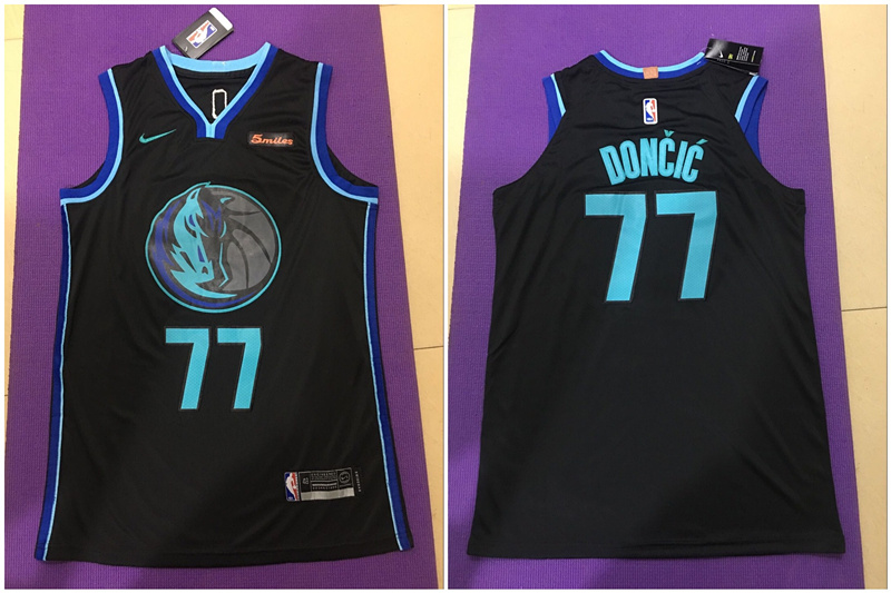 Mavericks #77 Luka Doncic Black City Edition Nike Authentic Jersey