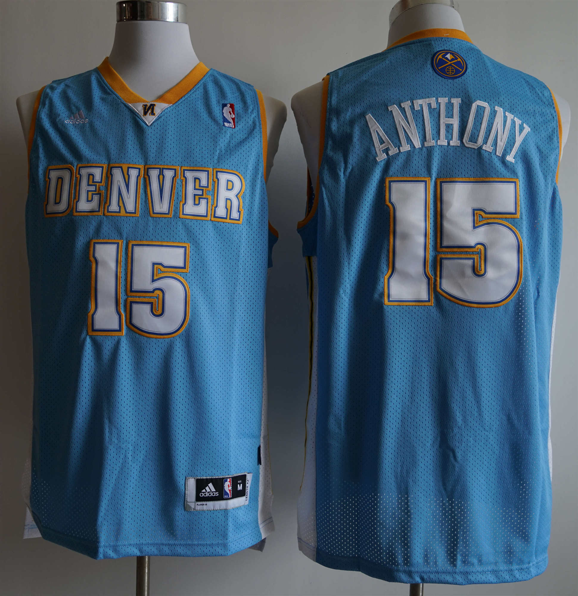 Nuggets #15 Carmelo Anthony Light Blue Adidas Jersey