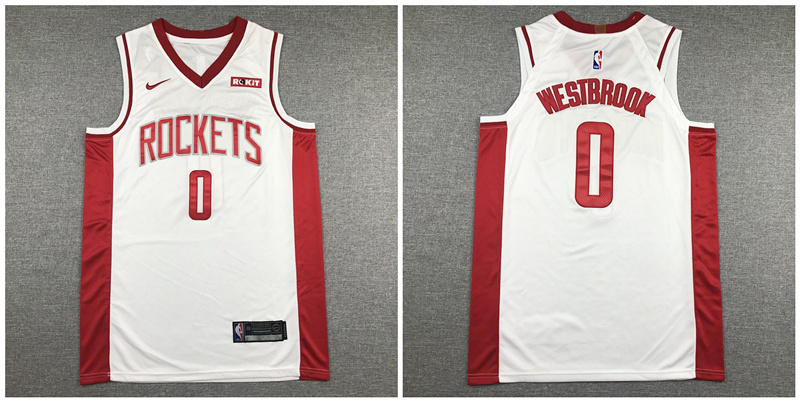 Rockets #0 Russell Westbrook White Nike Authentic Jersey