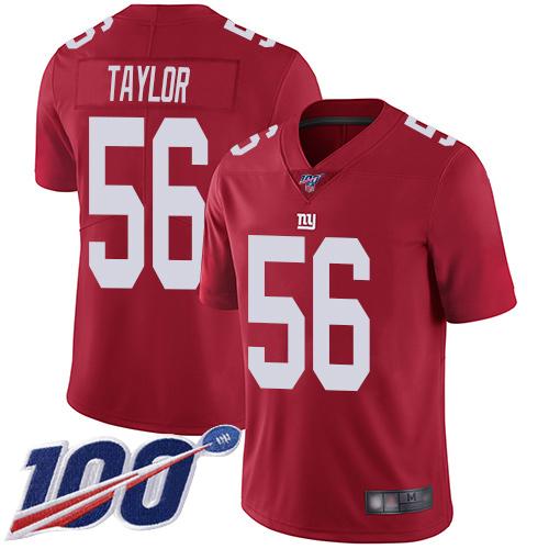 Nike Giants #56 Lawrence Taylor Red Alternate Men's Stitched NFL 100th Season Vapor Limited Jersey