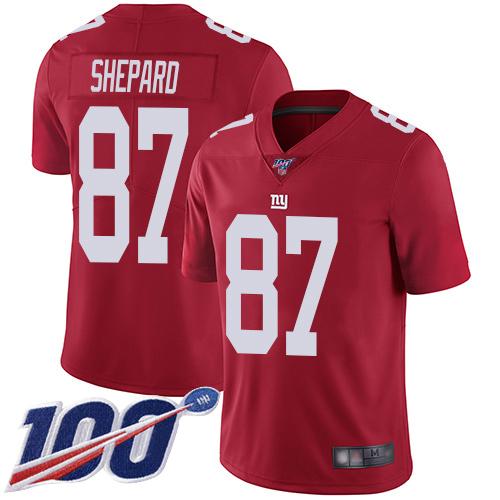 Nike Giants #87 Sterling Shepard Red Alternate Men's Stitched NFL 100th Season Vapor Limited Jersey
