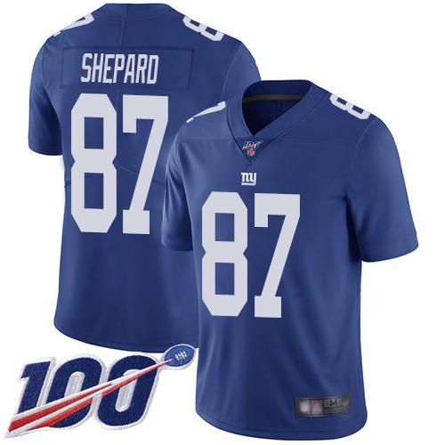 Nike Giants #87 Sterling Shepard Royal Blue Team Color Men's Stitched NFL 100th Season Vapor Limited Jersey