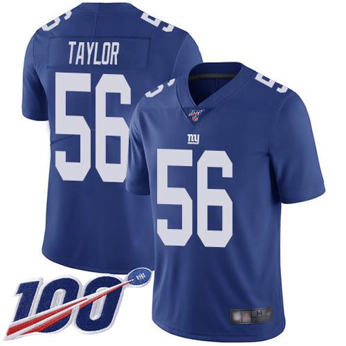 Nike Giants #56 Lawrence Taylor Royal Blue Team Color Men's Stitched NFL 100th Season Vapor Limited Jersey