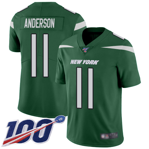 Nike Jets #11 Robby Anderson Green Team Color Men's Stitched NFL 100th Season Vapor Limited Jersey
