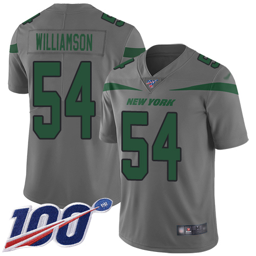 Nike Jets #54 Avery Williamson Gray Men's Stitched NFL Limited Inverted Legend 100th Season Jersey