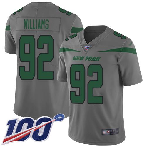 Nike Jets #92 Leonard Williams Gray Men's Stitched NFL Limited Inverted Legend 100th Season Jersey