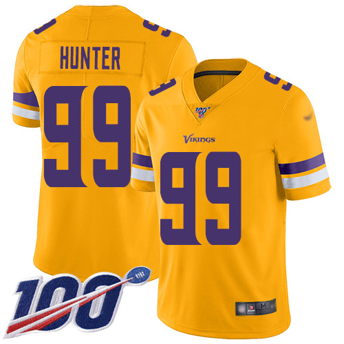 Nike Vikings #99 Danielle Hunter Gold Men's Stitched NFL Limited Inverted Legend 100th Season Jersey