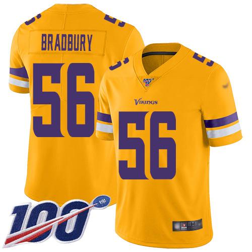 Nike Vikings #56 Garrett Bradbury Gold Men's Stitched NFL Limited Inverted Legend 100th Season Jersey