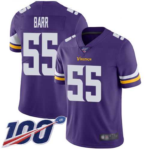 Nike Vikings #55 Anthony Barr Purple Team Color Men's Stitched NFL 100th Season Vapor Limited Jersey
