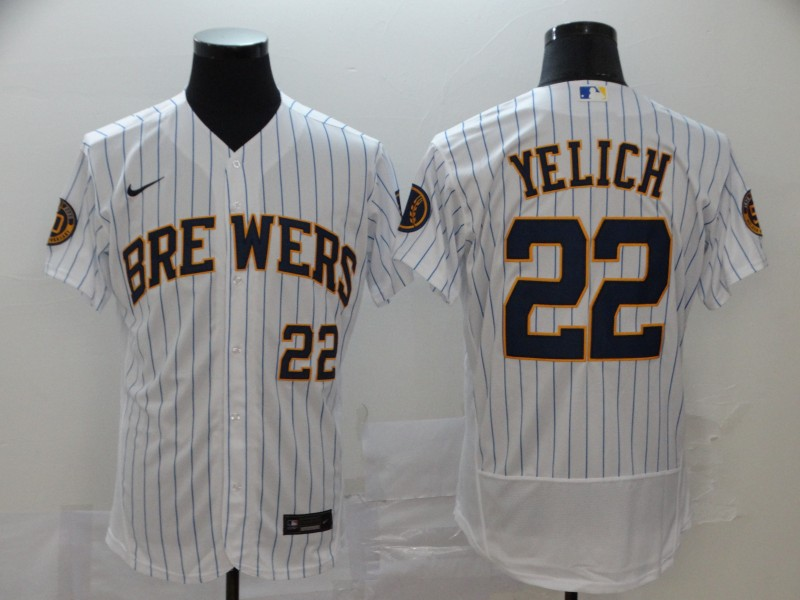 Brewers #22 Christian Yelich White Nike 2020 Flexbase Jersey