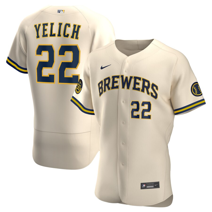 Brewers #22 Christian Yelich Cream Nike 2020 Flexbase Jersey