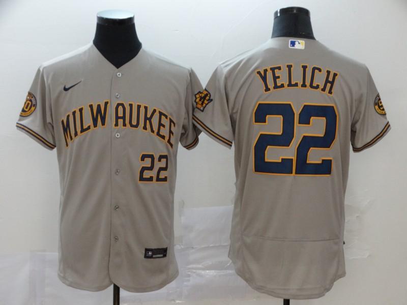 Brewers #22 Christian Yelich Gray Nike 2020 Flexbase Jersey