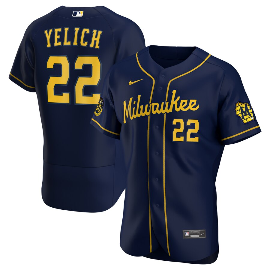 Brewers #22 Christian Yelich Navy Nike 2020 Flexbase Jersey