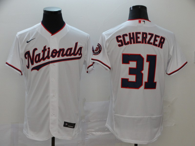 Nationals #31 Max Scherzer White Nike 2020 Flexbase Jersey