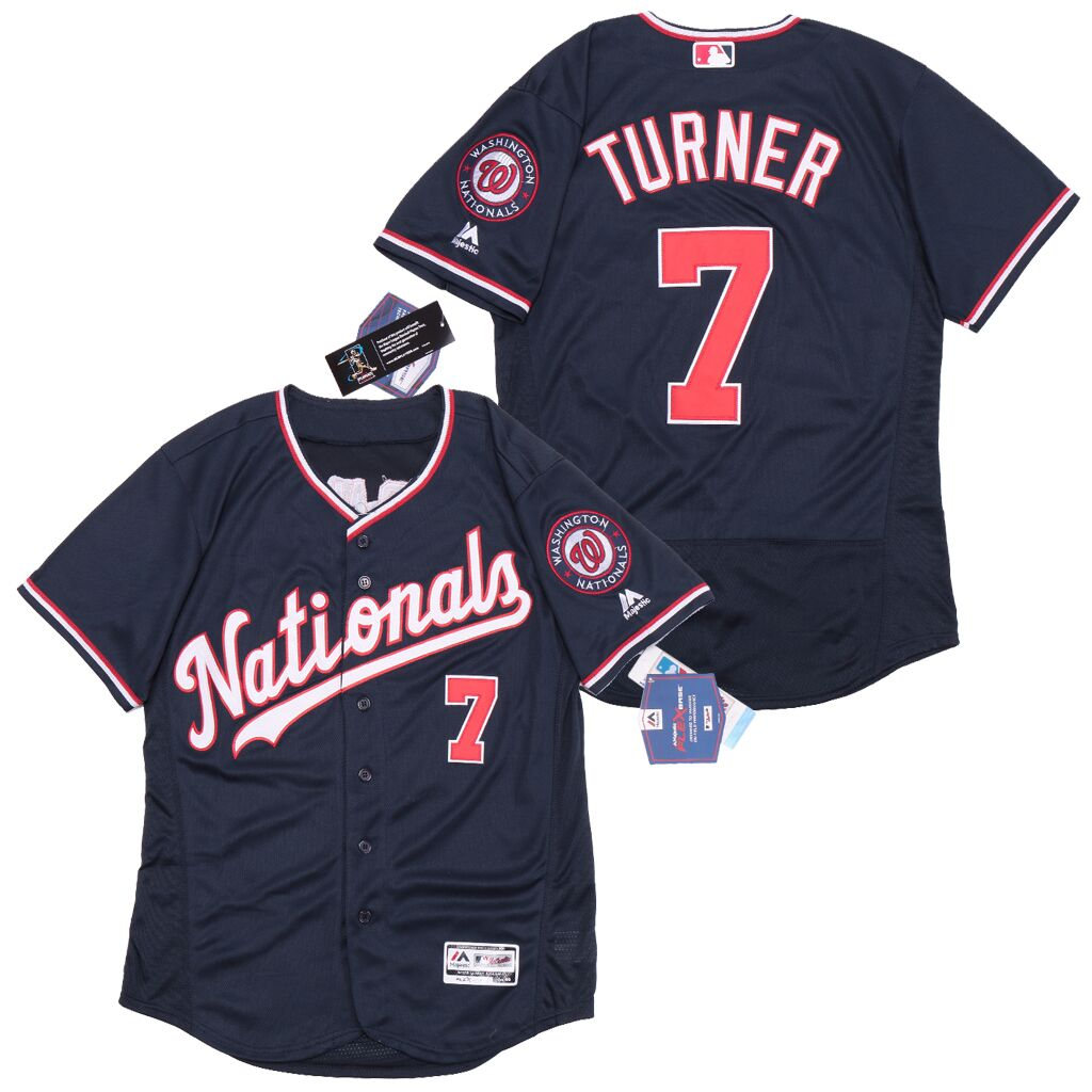 Nationals #7 Trea Turner Nave Flexbase Jersey