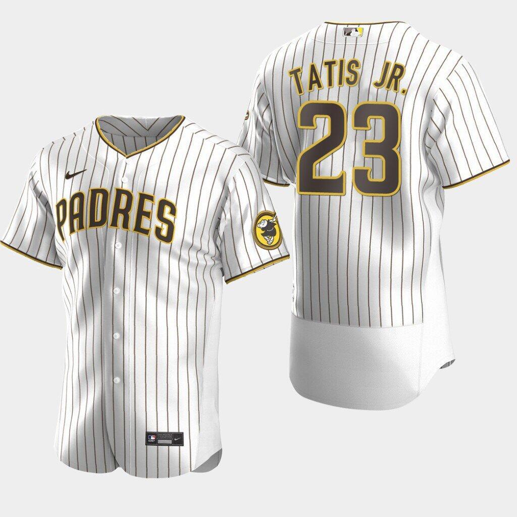 Padres #23 Fernando Tatis Jr. White Brown Jersey