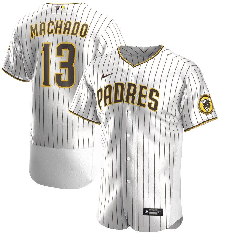 Padres #13 Manny Machado White Nike 2020 Flexbase Jersey