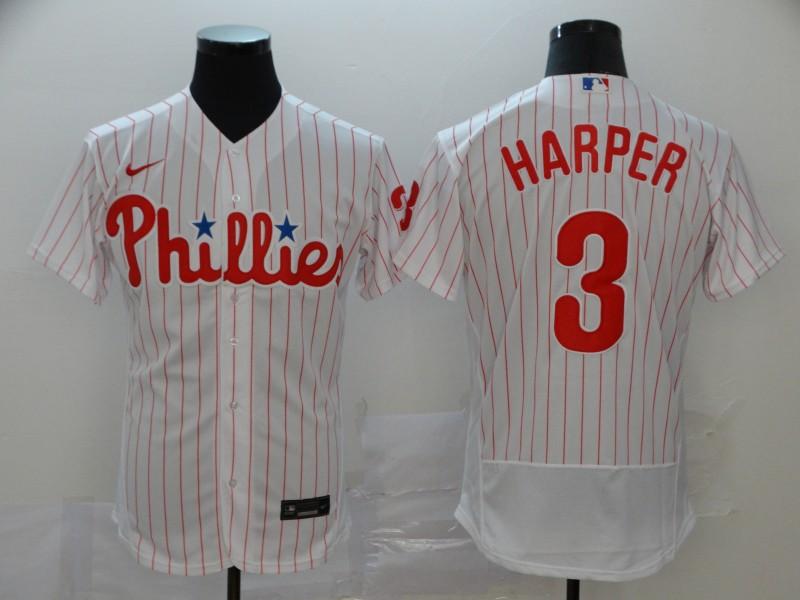 Phillies #3 Bryce Harper White Nike 2020 Flexbase Jersey