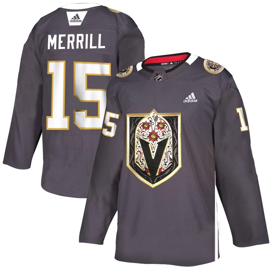 Vegas Golden Knights #15 Jon Merrill Gray Dia De Los Muertos Adidas Jersey