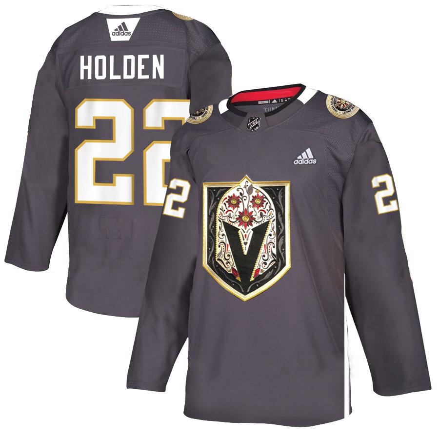 Vegas Golden Knights #22 Nick Holden Gray Dia De Los Muertos Adidas Jersey