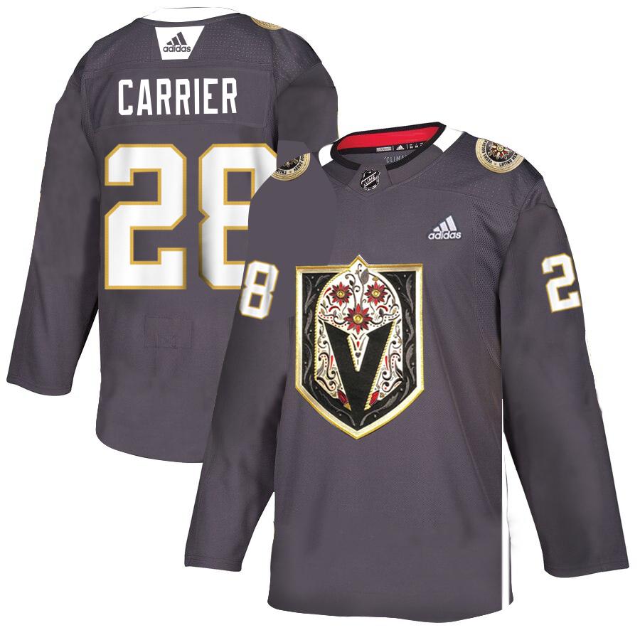 Vegas Golden Knights #28 William Carrier Gray Dia De Los Muertos Adidas Jersey