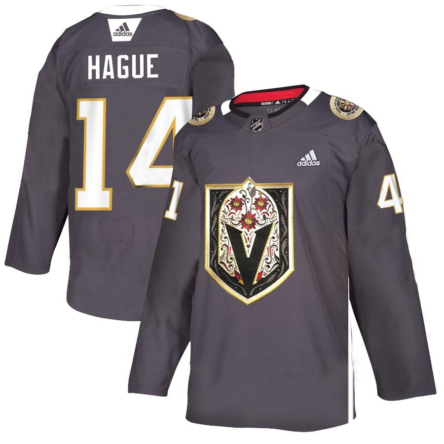 Vegas Golden Knights #14 Nicolas Hague Gray Dia De Los Muertos Adidas Jersey