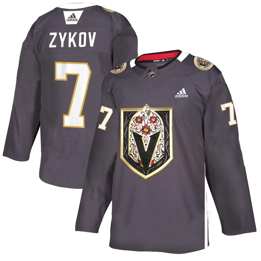 Vegas Golden Knights #7 Valentin Zykov Gray Dia De Los Muertos Adidas Jersey