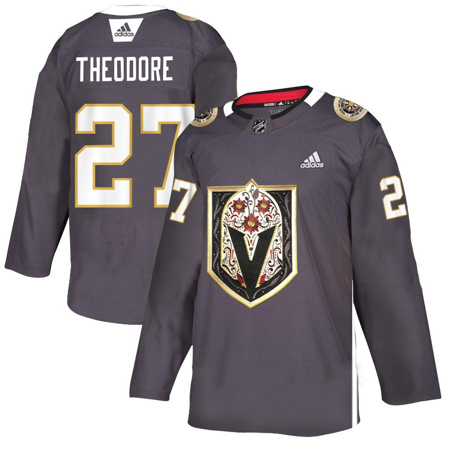 Vegas Golden Knights #27 Shea Theodore Gray Dia De Los Muertos Adidas Jersey
