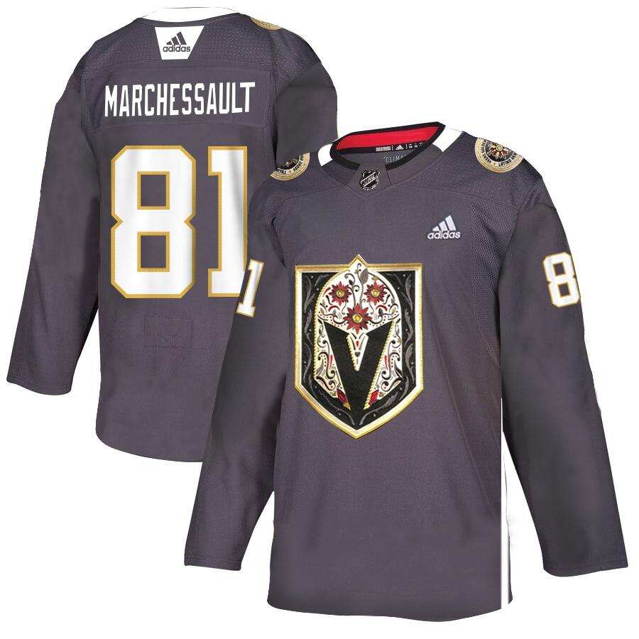 Vegas Golden Knights #81 Jonathan Marchessault Gray Dia De Los Muertos Adidas Jersey