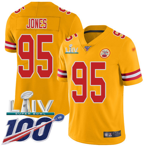 Nike Chiefs #95 Chris Jones Gold Super Bowl LIV 2020 Youth Stitched NFL Limited Inverted Legend 100th Season Jersey