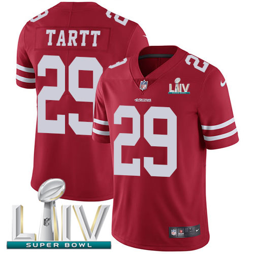 Nike 49ers #29 Jaquiski Tartt Red Super Bowl LIV 2020 Team Color Youth Stitched NFL Vapor Untouchable Limited Jersey