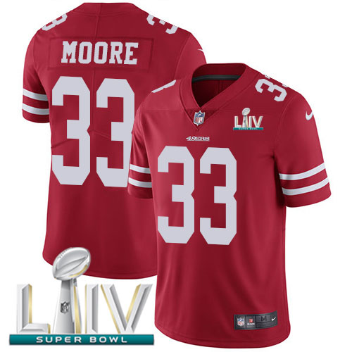 Nike 49ers #33 Tarvarius Moore Red Super Bowl LIV 2020 Team Color Youth Stitched NFL Vapor Untouchable Limited Jersey